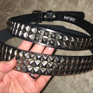 Accessories - 2 belts pyramid studded belts leather size 34